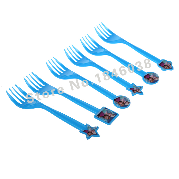 6pcs Elsa&Anna Snow Princess Theme Party Plastic Fork Birthday/Wedding/Christmas/Halloween/Festival Party Decoration Supplies(China (Mainland))