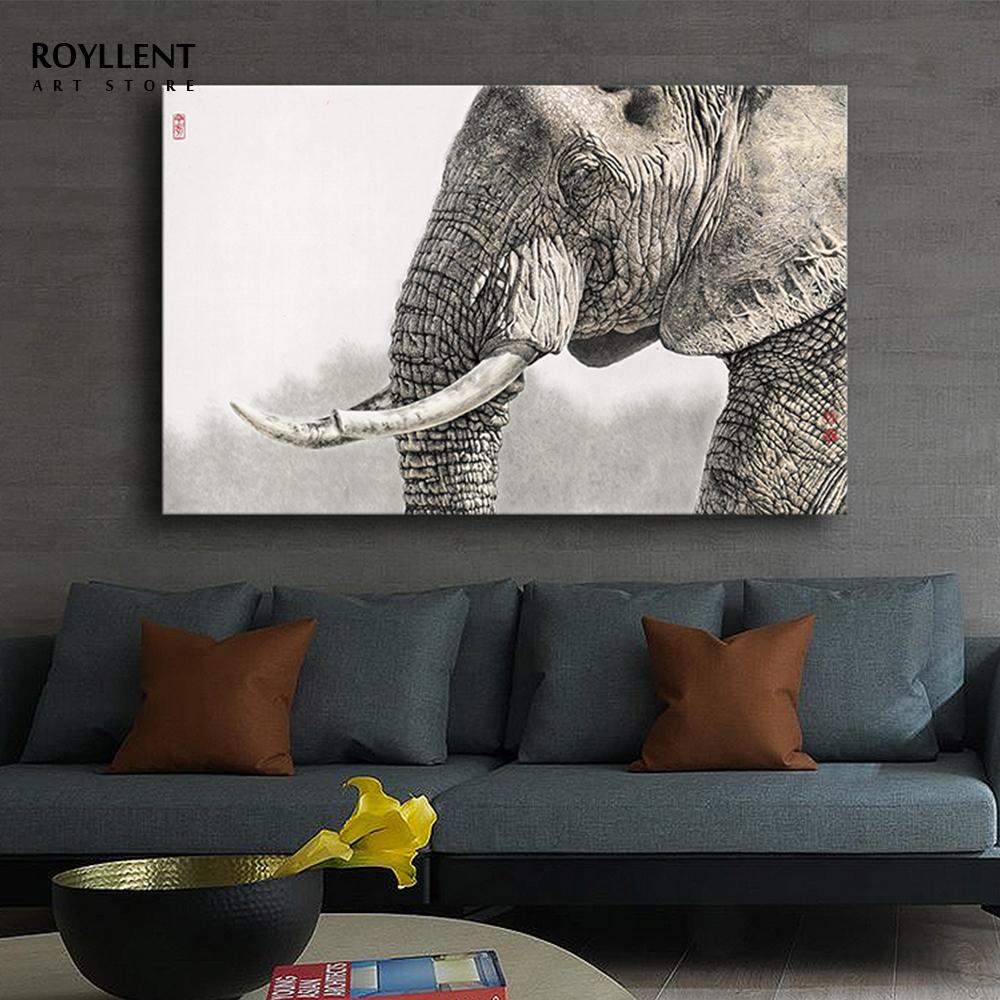 Black White Realistic Elephant Photo