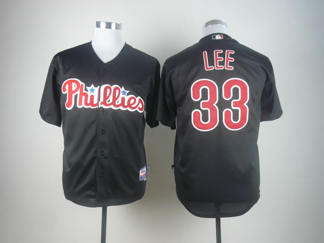 Philadelphia Phillies Jersey Mens Baseball Jersey Embroidery Mix Orders #33 Cliff Lee Black Best 1589(China (Mainland))