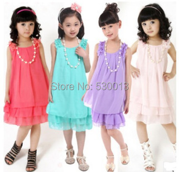 2015 Summer Pleated Chiffon Baby Girls Colorful Dress Kids Children's Princess Sleeveless Lace Dresses Beach with necklace