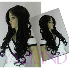 Hot heat resistant Kanekalon Party hair>>Asian Dark Black Long Curly Parted In The Middle Bang Hairnet Costume Wig
