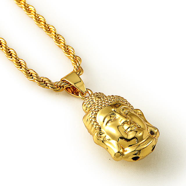 Hip Hop 18 K Real Gold Plated Long Twisted Chain Statement Necklace Angel Head Pendant Necklace Fashion Medusa Hip-hop Necklace(China (Mainland))