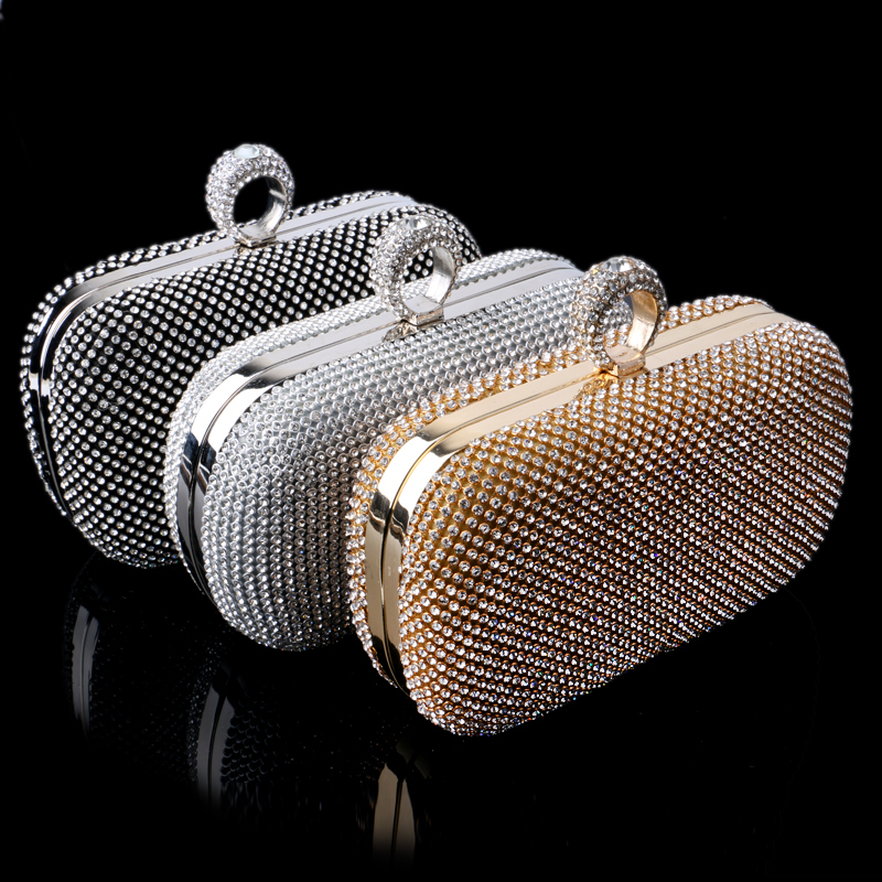 Hot selling finger rings diamonds clutch purse evening bags mixed color rhinestones evening bag small handbags/tote/wallets()