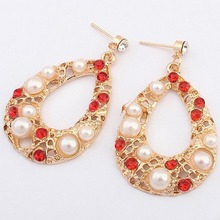 Yazilind Fashion Vintage Bohemia Style Waterdrop Lovely Pearl Crystal Gold Plated Earring Free Shipping(China (Mainland))