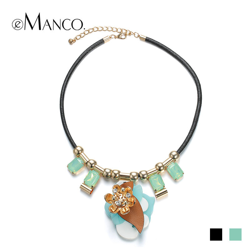 //Opal crystal choker necklace black leather necklace cord// rhinestone flower trendy necklace leather acrylic pendant eManco(China (Mainland))