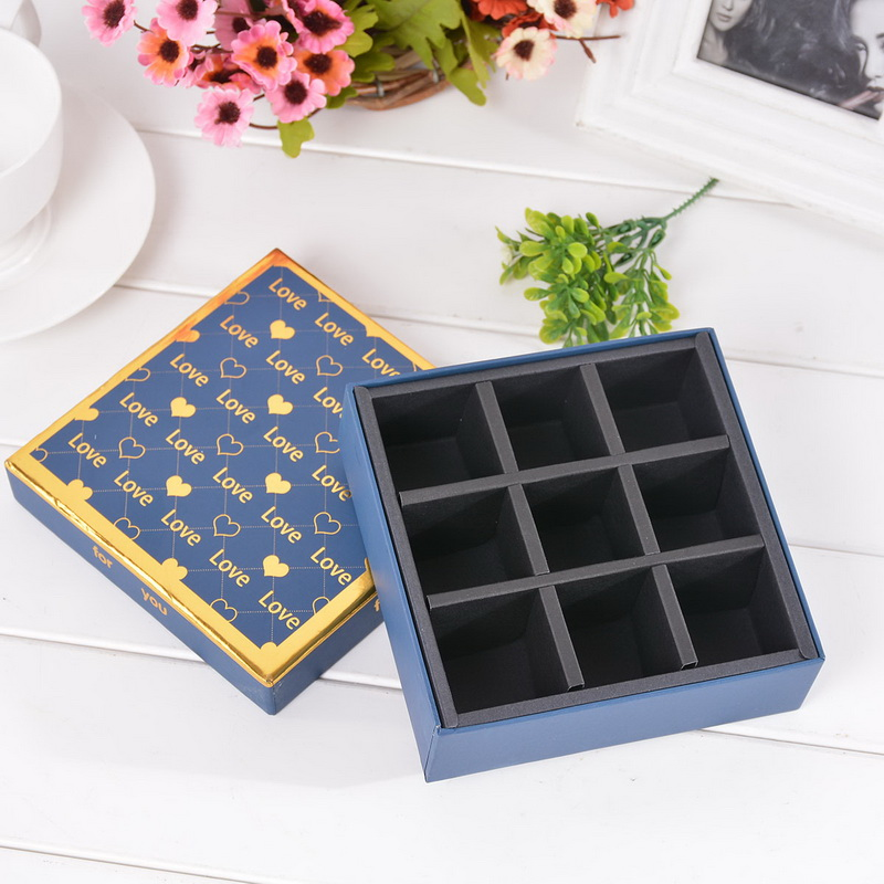 New Square Gift Box 9 Slots Chocolate Box Heart Pattern Fit Gift To Boyfriend Dark Blue 13x13cm 1PC(China (Mainland))