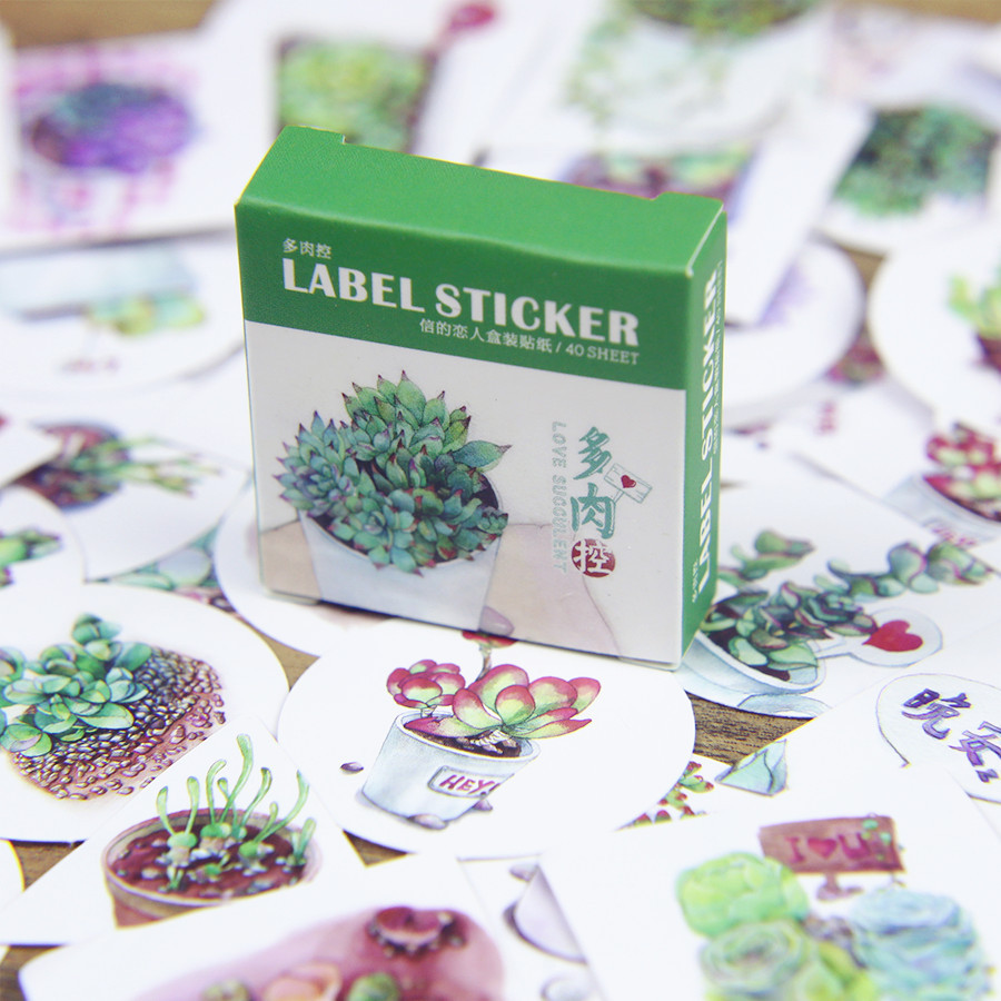 Гаджет  40Pcs Succulents Stickers Sealing Paste Diary Photos Post Cute Lable Sticker Decorative Stickers None Офисные и Школьные принадлежности