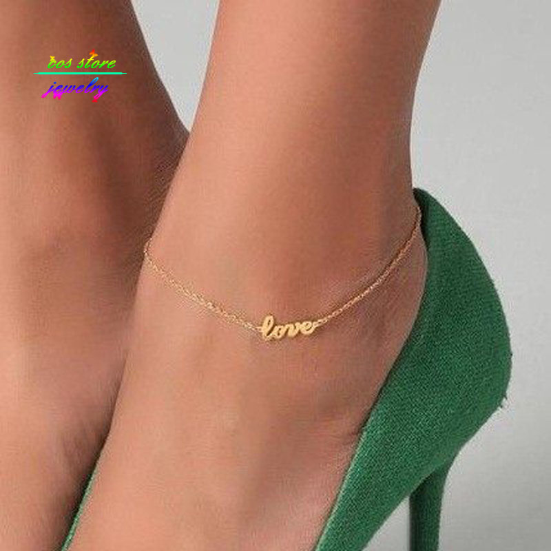 2017 New Summer Style Gold/Silver/Black Plated LOVE Letter Statement Anklet For Women Body Jewelry Bracelet For Women Bijoux