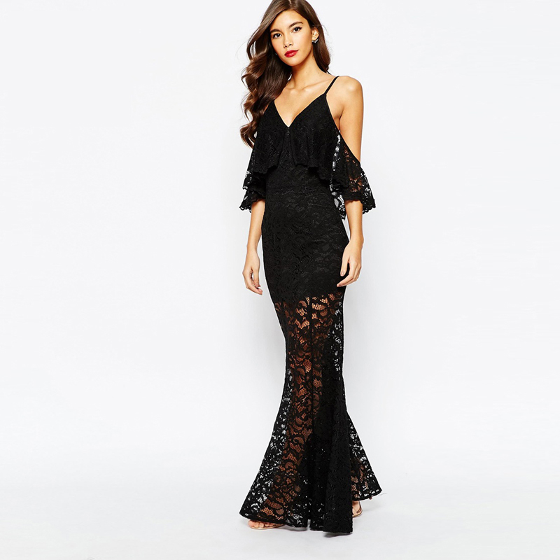 2016 Hot Selling Black Lace Women Sexy Dress Cami Strap Backless Floor Length Party Dresses Plus Size Women Long Dress HD00361(China (Mainland))