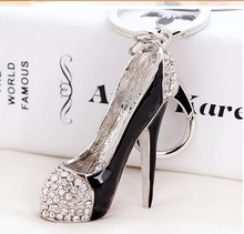 High heel shoes key chains rhinestone car key rings silver plated women bag charms keychains keyrings fashion crystal key holder
