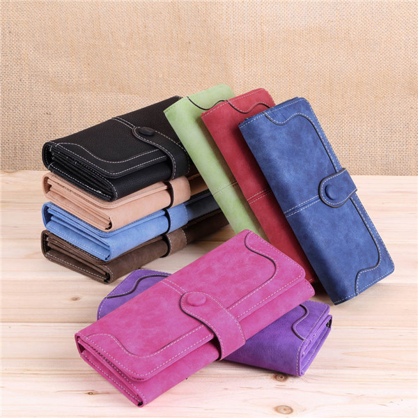 2015 New Fashion Women Vintage Wallet Matte Stitching Women Long Brand Purse Clutch 9 Colour Handbag