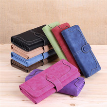 2015 Fashion Retro  Long Card Holder Purse Matte Stitching Lady Women Wallet