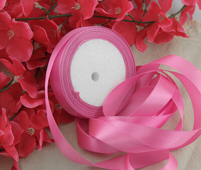 15mm ribbon ribbons accessories gift wrapping tape divisa ribbon 50Y 2roll wedding decoration Deep pink color 008007016(China (Mainland))