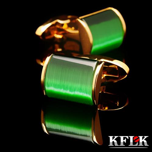 KFLK jewelry 2017 shirt cufflink for mens Brand cuff button wedding Green cuff links High Quality Gold abotoaduras Jewelry(China (Mainland))