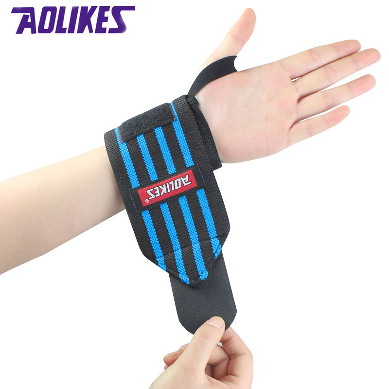 AOLIKES 1 Pair Wrist Support Straps Wraps For Weight Lifting Fitness Gym Sport Wristbands Hand Bands 3 Colors Training Necessary(China (Mainland))