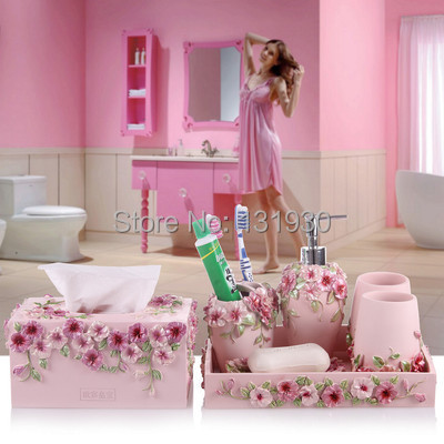 Hot sale pastoral style 7pcs set bathroom accessories high for Bathroom accessories sets on sale