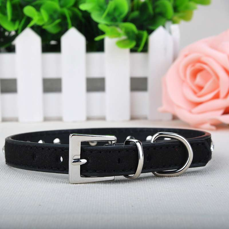 0.6cm Pet Dog Puppy Cat Collar Lead Bling Rhinestone PU Leather Neck Safety Collar Strap Buckle for Dogs Y*MHM469#C5(China (Mainland))