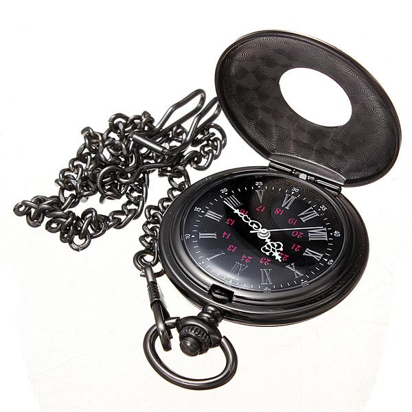 New Roman Vintage Steampunk Retro Black Pocket Watches Quartz Watch Chain Stainless Steel Fob Hot(China (Mainland))
