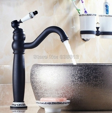 Buy Black Oil Rubbed Brass Swivel Spout Kitchen Sink Basin Faucet / Ceramic Handle Vessel Sink Mixer Taps Deck Mounted Wnf506 for $99.99 in AliExpress store