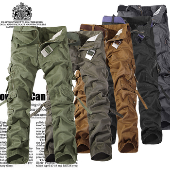 2016 Top Fashion Multi-Pocket Solid Mens Cargo Pants High Quality Plus Size Men Trousers Size 28-42