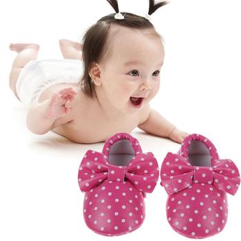 Baby Shoes Soft Bottom Polka Dot Bowknot Crib PU Leather Shoes LD789
