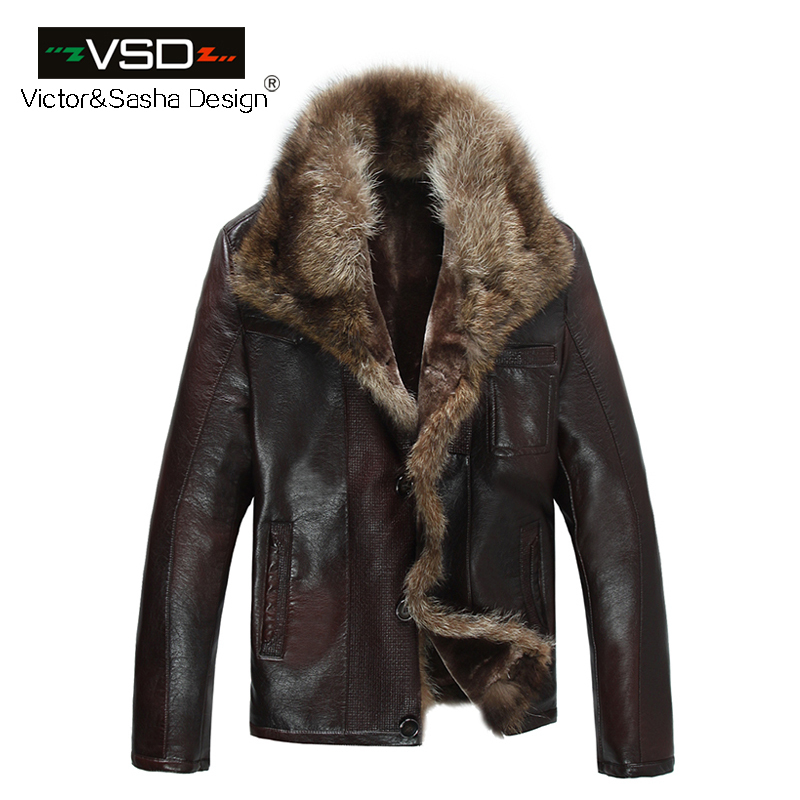 FreeShiping Hot Sale Fashion Men's Coats Imitation Leather Jacket Short Raccoon Fur Collar Leather Jackets Men High Quality(China (Mainland))