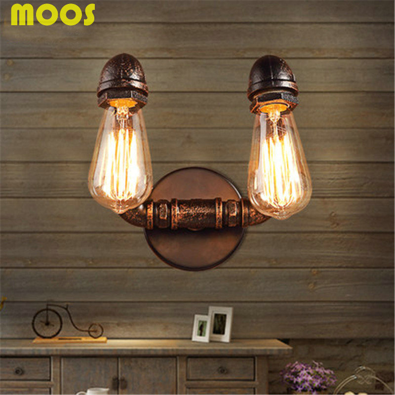2016 Hot sale American Vintage Industrial Wrought Iron Water Pipe Wall Lamps Aisle  Restaurant bar E27 Edison  loft  wall lamp<br><br>Aliexpress