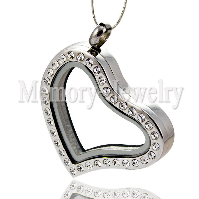 30mm Crystal 316L Stainless Steel Hinge Opened Memory Floating Heart Locket Necklace<br><br>Aliexpress