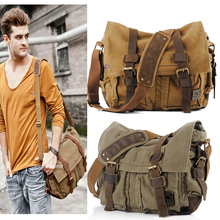 2017 Canvas Leather Crossbody Bag Men Military Army Vintage Messenger Bags Large Shoulder Bag Casual Travel Bags I AM LEGEND(China (Mainland))