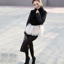 2016 women's sheep jackets genuine leather jacket with tibet sheep fur at bottom black short coat real leather fashion outwear(China (Mainland))