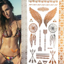 Wild Golden flash tattoos Wing feathers jewelry sticker tattoo metallic large temporary tattoo Skin Beauty sticker 10*21cm(China (Mainland))
