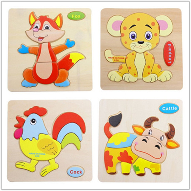 Kids Animals fruit Transportation Shapes 3d Wooden Jigsaw Puzzles Free Games Toy For Children Cartoon Learning Education Toys(China (Mainland))