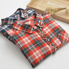 Colorful buttons kawaii plaid autumn long sleeve shirt blouse(China (Mainland))