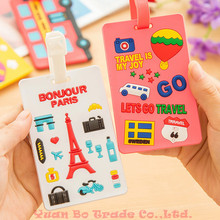 Silicon Travel Luggage Tag Cartoon Travel Accessories Bag Suitcase Tags Free Shipping lqq(China (Mainland))