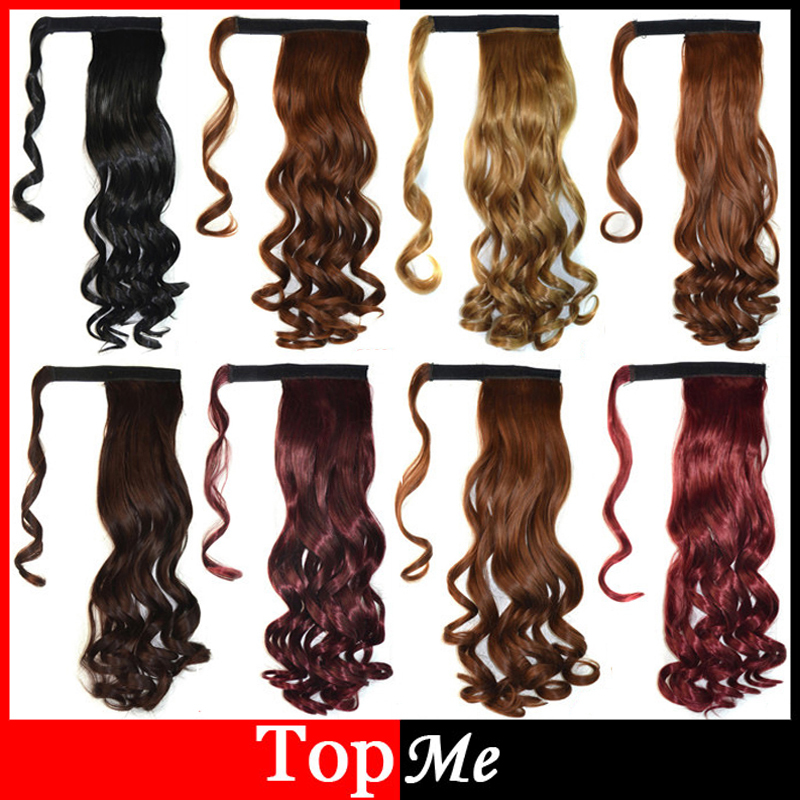 Woman Ponytails Curly Long Synthetic Clips In False Hair Extensions Pony Tail Lady Ribbon Ponytail Black Brown Female Hairpiece(China (Mainland))