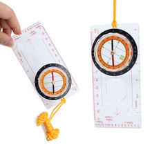 Best Price Pointer Compasses Hiking Protractor Camping Compass with Ruler Magnifier EA14(China (Mainland))