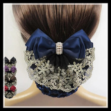 HOT SALE !! 2015 New arrival Womens Hot Fashion lace Bow Barrette Hair Clip With Snood Net Bun Cover 3 Colors Free Shipping!(China (Mainland))