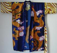 2015 New Women's Bathrobe Kaftan Silk Robe Gown Printing Dragon Sleepwear Kimono Gown Dropshipping Blue size M L XL