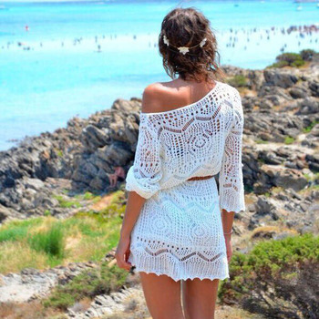 Sanwony мода женщины выдалбливают белое кружево пляж платья с поясом Большой размер