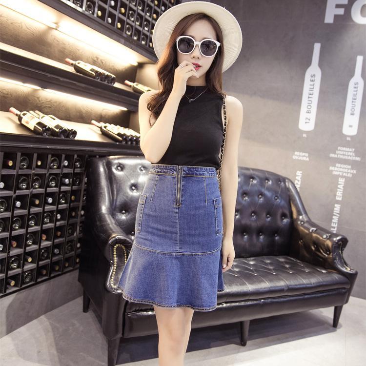 women denim fishtail skirt high waist package hip summer blue skirts 2016 fashion clothing faldas crayon jupe etek saia feminina(China (Mainland))