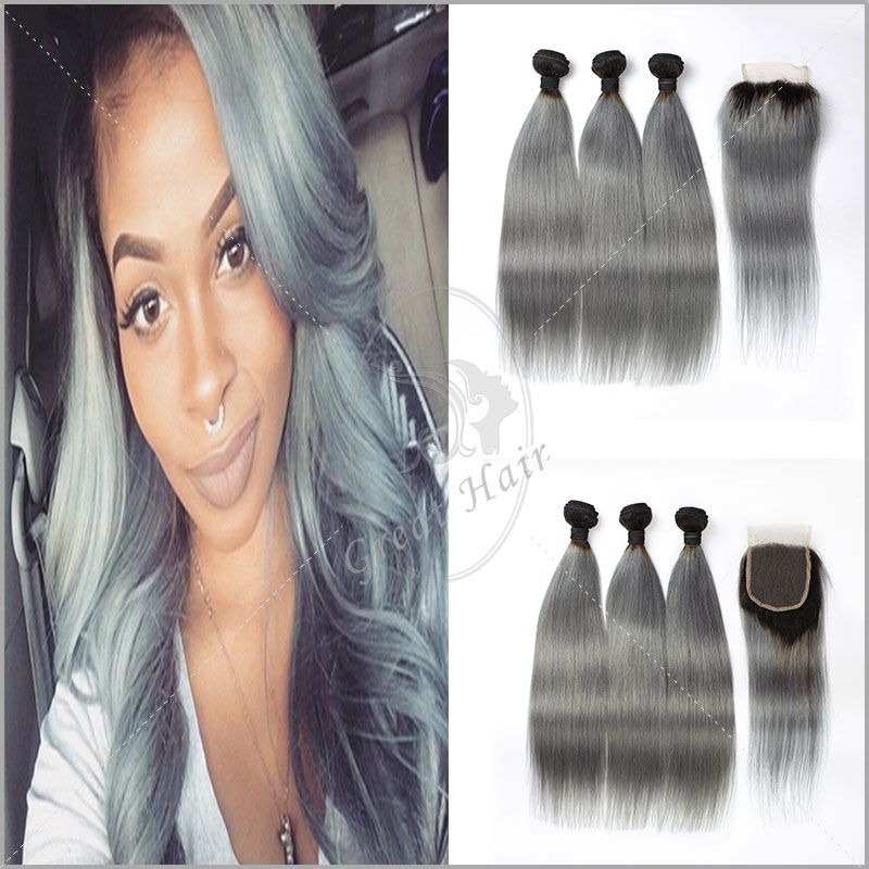 7a Grade brazilian virgin hair with closure Ombre grey Hair Bundles With Closure Brazilian Virgin Hair With Free Part Closure