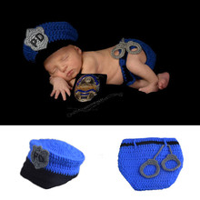 Crochet Newborn Baby Police Outfit Hat&diaper with handcuffs Knitted Baby Boy Photo Props Infant Costume set 1set MZS-15067(China (Mainland))
