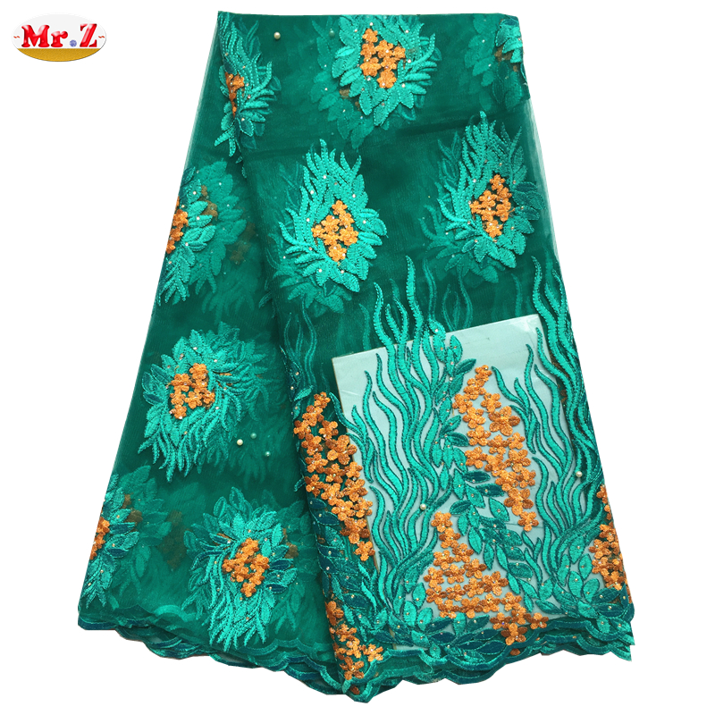 Mr.Z Hot Sale Guipure French Lace Fabric High Quality African Tulle Lace Fabric With Stone Cheap Nigerian Lace Fabrics For Women(China (Mainland))
