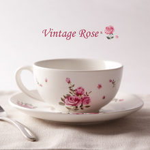 Elegant porcelain coffee cup and saucer English garden style coffee mug suit restoring ancient ways style rose ceramic cup sets