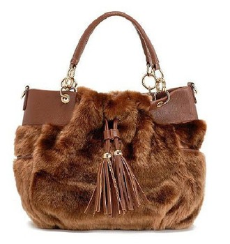 New 2014 Winter Bags For Women Fashion Handbags For Women Messenger Bag With Rabbit Fur Zipper Bags Black/Brown/Khaki Color