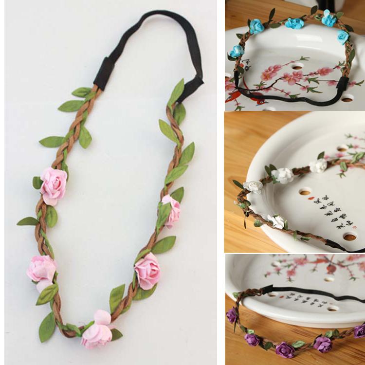 Hot Sale New Fashion Womens Bohemia Beach Flower Hair Bands Headband Hair Accessory 9 Colors Drop Shipping Headwear-001907(China (Mainland))