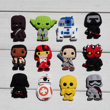 12PCS Star Wars Hot Cartoon PVC Shoe Charms Inserts Accessories fit Bracelets Bands JIBZ Clogs,Kids Party Supplies(China (Mainland))