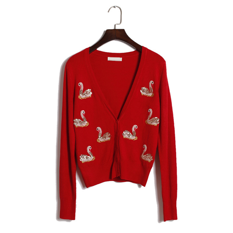 2017 New Spring Women Knitted Cardigans Sweater Swan Sequined 3 Color Available Sequins Lady Casual Botton Sweater MT992(China (Mainland))
