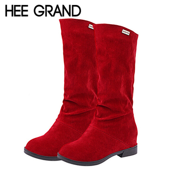 2015 New Suede Women Boots Sexy Height Increasing Mid-Calf Boots Autumn Riding Boots Slip On Flats Casual Shoes Woman XWX2696
