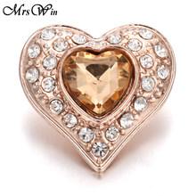 6 sztuk/partia nowy różowe złoto przystawki przycisk biżuteryjny Rhinestone kryształ miłość serce przystawki przycisk dla 18 MM Snap bransoletka miłość biżuteria(China)